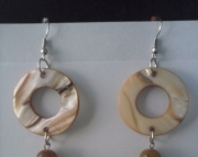 Round Shell Antiqued Beaded Earring