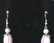Pink and White Swirl Earring