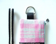 Wristlet  Pink Plaid Meets Rocker  Studded  Zippered