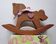 Baby or Girls Wall Art Sweet rocking horse on pink butterflies flowers on yellow tissue Reclaimed