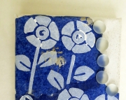 SALE Mini Canvas White butterfly and flowers decorate dark blue painted tissue frosted beads