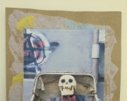 Halloween, skull, spooky, scary card. Handmade card features photo of well-dressed skull in buggy. E