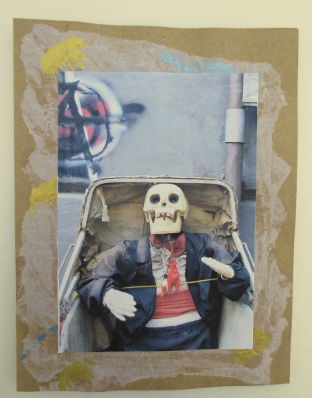 SALE Halloween Skull Spooky Scary Card Features Original Photo of Welldressed Skull in Buggy