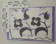 SALEMini art canvas black abstract flowers purple accents on white tissue with upcycled wood trellis