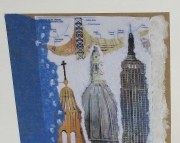 SALE Art card featuring architectural elements on deep blue tissue Great for boys or men