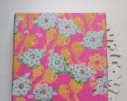 SALE Baby Girl Wall Art Pink tissue decorated with white  green flowers  yellow balloons Reclaimed