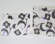 Handmade card with black flowers on white tissue with lavender accents Celebrate Birthday friends