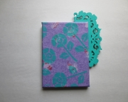 NEW Art canvas decorated with teal flowers on lavender tissue, trellis. Ready to hang.