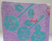 Greeting card turquoise flowers on decorated light purple tissue Perfect for birthday congrats
