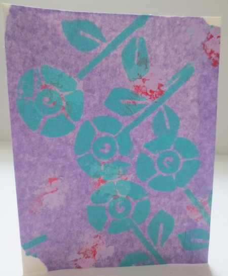 SALE Greeting Card Turquoise Flowers On Decorated Light Purple Tissue Perfect for Birthday Congrats