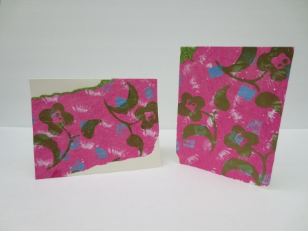 SALE Handmade Greeting Card with Bold Metallic Green Flowers Floating On Pink Tissue Birthday
