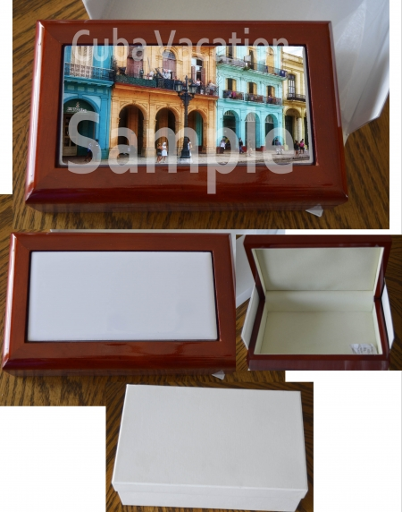 Beautiful Lined Wooden BoX with 3 X 6 Photo Tile