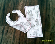 Baby Boy Bib and Burp Cloth Set Farm
