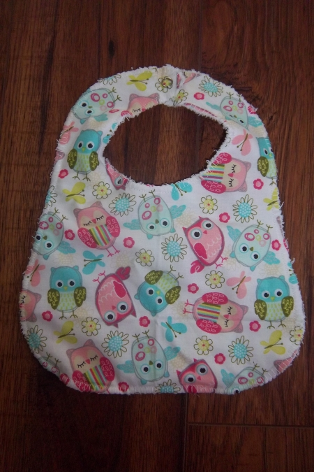 Baby Girl Bib Owls