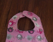 baby girl bib pink elephants