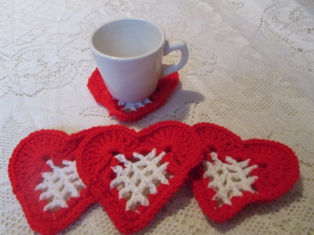 Red & White Heart Coasters
