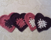 Pink Purple  White Heart Coaster Set