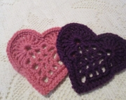 Purple and Pink Heart Coaster Set