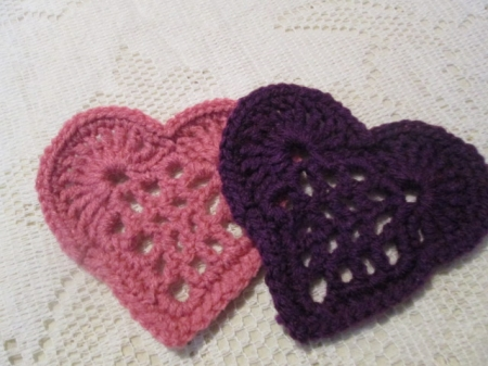 Purple and Pink Heart Coaster Set