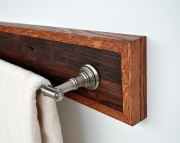Towel Holder Bar Framed in Oak with Nickel Hardware