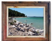 Canvas Print Mackinas Island Shoreline Cairns