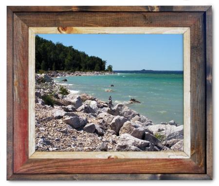 Canvas Print Mackinas Island Shoreline Cairns