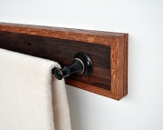Towel Holder Bar Framed in Oak with Bronze Hardware