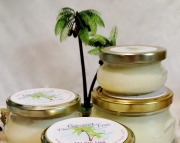 Coconut Scented Soy Wax Candle / Crackle Wick / Wood Wick / 11oz