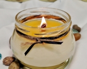 Leather Scented Soy Wax Candle  Crackle Wick  Wood Wick  3oz