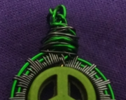 Peace Sign  Dark Green and Grey