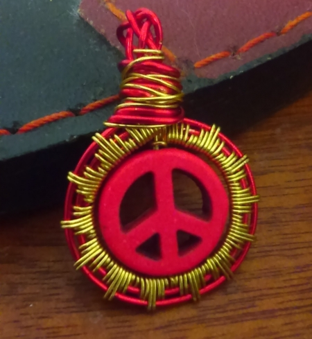 Peace Sign Red and Gold