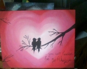Art love birds original acrylic painting canvas silhouette decor