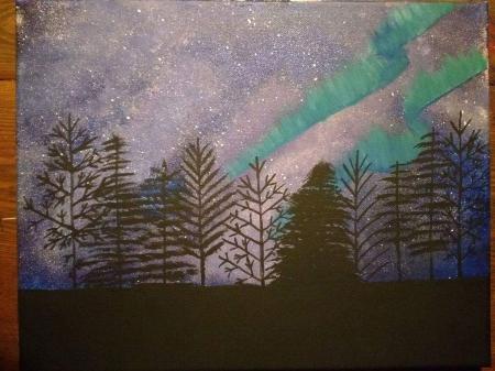 Aurora Borealis Tree Silhouette