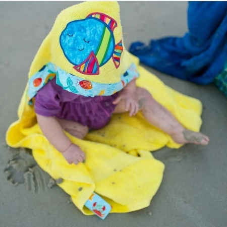 Fish Hooded Towel Kids Hooded Towel Stitches by Natalie