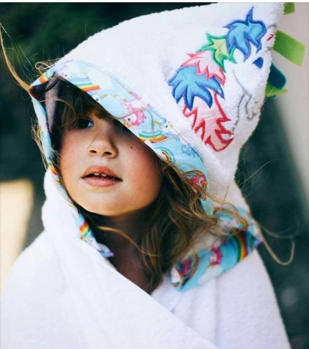 Unicorn Hooded Towel Personalized Towel Stitches By Natalie