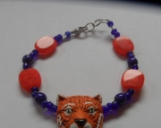 Detroit Tiger Bracelet with Orange Beads