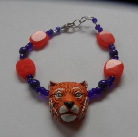 Detroit Tiger Bracelet with Orange Beads