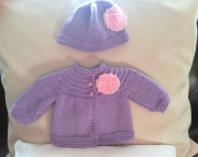 Purple Knit Baby Sweater and Hat