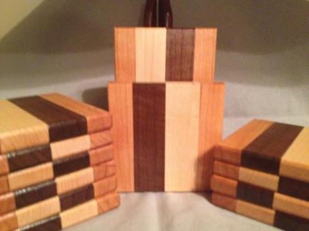 Wood Drink Coasters, Set of 2