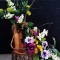 Gorgeous Spring Flower Arrangement with Wood Base
