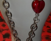 Asymmetrical Red Heart Necklace
