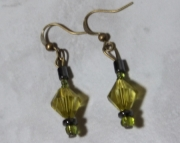 Bronze, Green, Metal Hanging Earrings