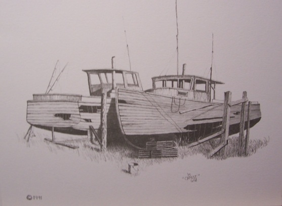 Old fishing boats drawing handmade michigan for How to draw a fishing boat
