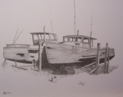 Old Fishing Boats Drawing