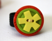 Yellow Star Burst with Green and Orange Button Ring, Sizeable