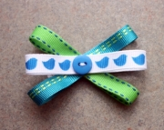 Blue & Green Bow with White Blue Bird Ribbon and Blue Button Hair Clips