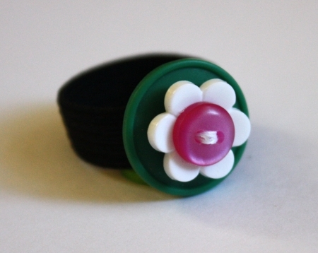 Ring Green White Flower Bright Pink Button