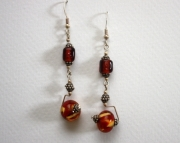 Handmade Lampworked Glass Beaded Sterling Earrings Long Amber