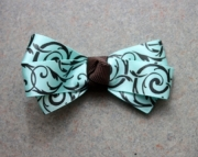 Brown & Light Blue Bow Hair Clip