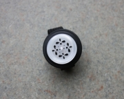 Button Ring, White Lace Pattern and Black Buttons, Sizeable
